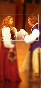 Much Ado About Nothing (2005): Kandi Corell as Beatrice and Joshua Brown as Benedick confess their love.